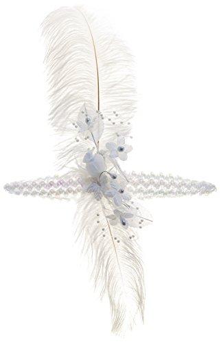 Linda Ann's White Flapper Girl, Feather, Flower,sequin - Flower Lindas Shop