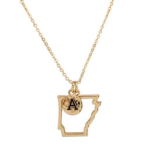 State Map Cutout Necklace 18 Inch (Arkansas-Gold)