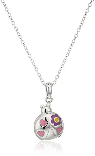 """Price comparison product image Hallmark Jewelry Baby and Kids Sterling Silver Flower Power Ladybug Pendant Necklace, 16"""""""