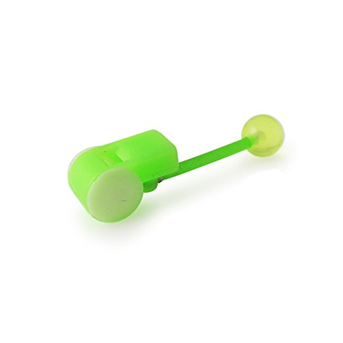 14Gx5/8 (1.6x16MM) Flexible Straight Barbell with Light Green UV Whistle and 6MM Ball Tongue Piercing Rings