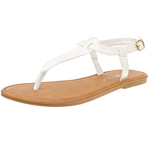 Red Circle Women's T Strap Thong Gladiator Strappy Jelly Shiny Flat Flip Flops Sandals (8, White) (White Thong Leather)