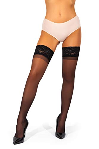 sofsy Lace Sheer Thigh-High Stockings/Pantyhose w/Hold-Up Silicone - 15 Denier [Made in Italy] - Black - 3 - Medium
