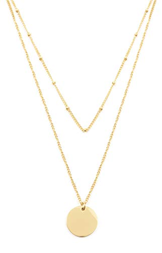 - Happiness Boutique Layered Necklace Circle Pendants in Gold Color | Double Row Necklace Round Disc Pendants