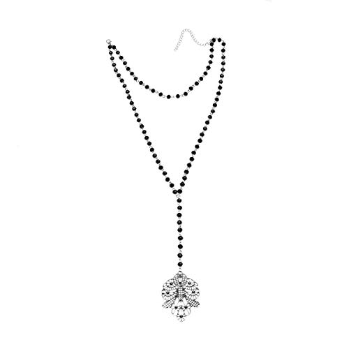 Geerier Vintage Flora with Black Beads Layered Rosary Necklace ()