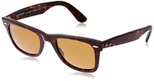 G15 Lens Sunglasses - Ray-Ban RB2140 Wayfarer Sunglasses, Striped Tortoise/Polarized Crystal Brown, 50 mm