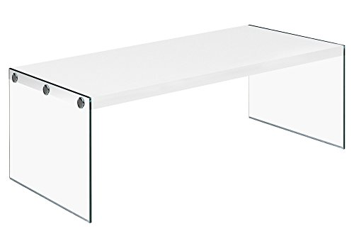 Monarch specialties  I 3286, Coffee Table, Tempered Glass, Glossy White, 44