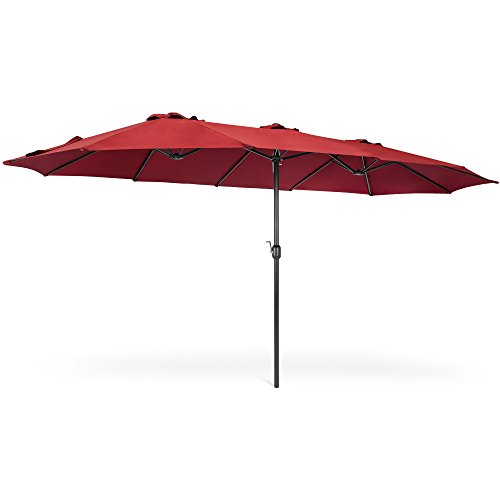 - Best Choice Products 15x9ft Large Rectangular Outdoor Aluminum Twin Patio Market Umbrella w/Crank, Wind Vents - Burgundy