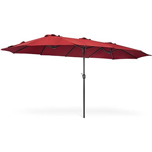 Best Choice Products 15x9ft Rectangular Twin Market Patio Umbrella – Burgundy