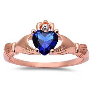 (Oxford Diamond Co Rose Gold Plated Simulated Blue Sapphire Cubic Zirconia Claddagh .925 Sterling Silver Ring Size 12)
