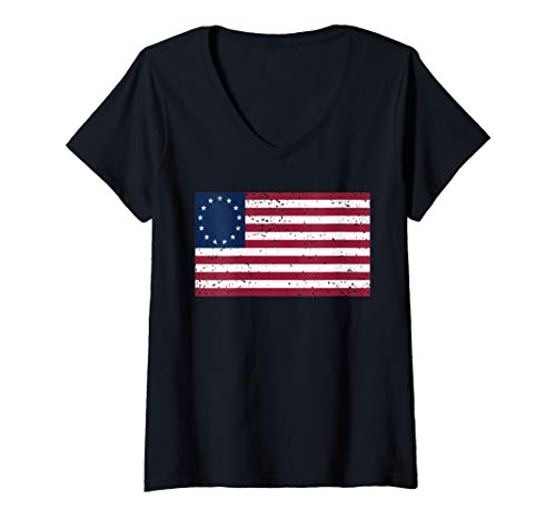 Womens Distressed Betsy Ross US Flag t-shirt, Betsy Ross Flag Shirt V-Neck T-Shirt