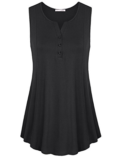 Tank Top Tunics for Women,Messic Women's Comfy V-Neck Sleeveless Tunic Blouses Casual Loose Fit Tank Top Shirt(XX-Large,Black)