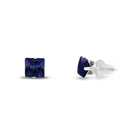 Lab Created 4x4mm Square Princess Cut Blue Sapphire Solid 10K White Gold 4-Prong Set Stud Earrings