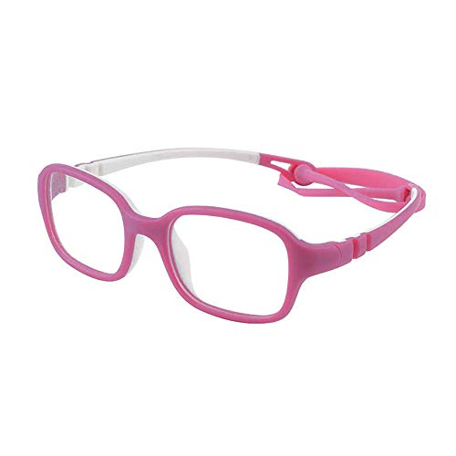 Unbreakable Kids Glasses Frame Bendable Flexible Cute Pink Eyewear Frame with Clear Square Lens for Boys Girls(Age ()