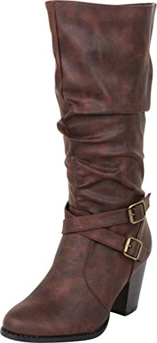 Cambridge Select Women's Slouch Crisscross Strappy Chunky High Heel Mid-Calf Boot,8.5 B(M) US,Brown PU