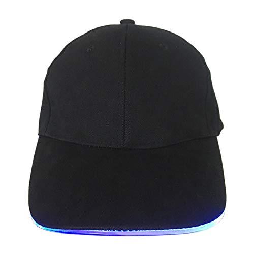 (LED Glow Cap Hip hop Trend Fiber Optic Glow Cap Cap Glow Baseball Cap Sun Visor Black)