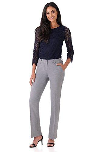 (Rekucci Women's Smart Stretch Desk to Dinner Straight Leg Pant w/Zipper Closure (4SHORT,Charcoal))