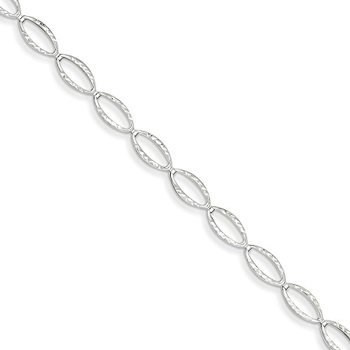 14k White Gold Polished Oval Link Bracelet, 14 kt White Gold, 7.25 inch