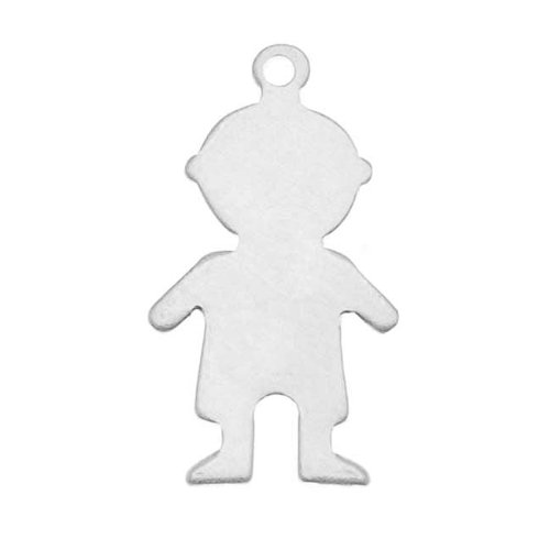 Sterling Silver Stamping Blank, Little Boy With Loop 18mm, 1 Piece, Silver (Piece 10 Sterling 18mm)