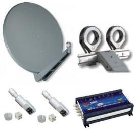 SE Gibertini 85 cm Alu antena satélite + 2 multifoco ...