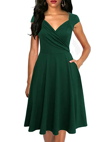 - Lyrur Women's Elegant A-Line Ruched Cap Sleeves Office Work Dresses with Pockets Knee Length Flared(M, 9074-Dark Green)