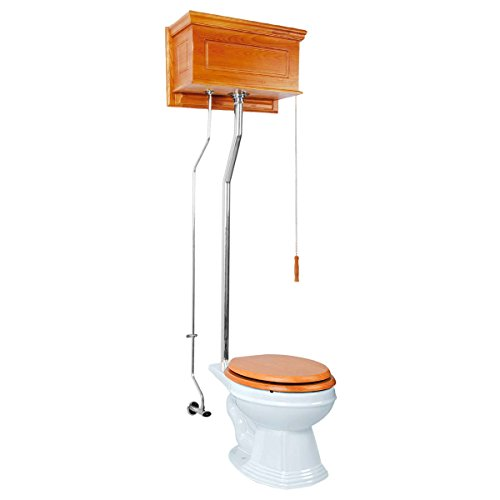 Renovator's Supply Light Oak Raised High Tank Pull Chain Toilet With White Elongated Bowl And Chrome Rear Entry Pipe