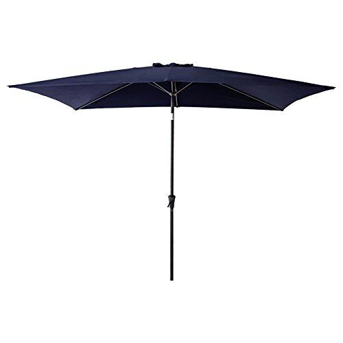 Market Blue Umbrella Navy (C-Hopetree 6 feet 6 inch x 10 feet Patio Market Outdoor Umbrella with Crank Winder, Push Button Tilt, Rectangle, Navy Blue)