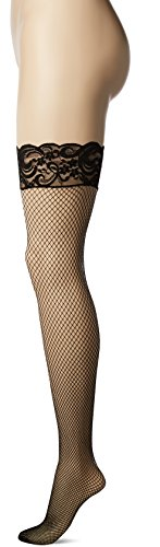 Be Wicked Women's Queen Size Stay Up Fishnet Thigh Highs with Lace Top, Black, Queen Size (Plus Size Fishnet Stocking With Lace Top)
