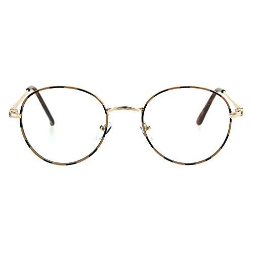 Classic 90s Metal Rim Round Clear Lens Eye Glasses Frame Gold - Tortoise Rim Glasses