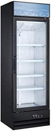Upright Single Glass Door Commercial Display Refrigerator - Retail Merchandiser Cooler; 14 Cubic Ft.