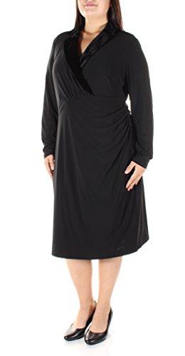 Lauren Ralph Lauren Womens Plus Velvet Trim Ruched Tuxedo Dress Black 16W