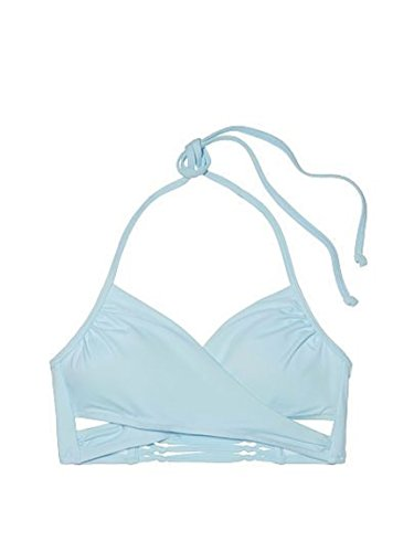Victoria's Secret Pink Knotted Back Body Wrap Bikini Top, Blue Teal, Medium (Vs Swimwear Pink)