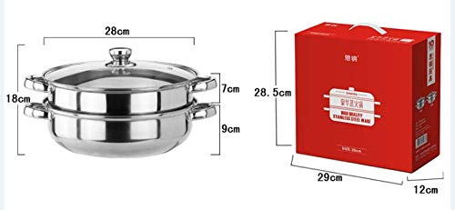 28 CM Stainless Steel 2 Tier Steamer Pot Steaming Cookware, Stainless Steel Stockpot with Lid