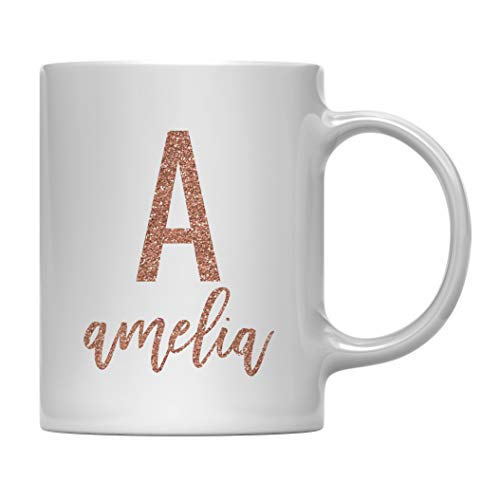 Andaz Press Personalized 11oz. Coffee Mug Gift, Rose Gold Faux Glitter, Monogram Letter and Name, A Amelia, 1-Pack, Custom Letter Name ()