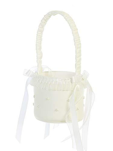 Tip Top Kids Girls Ivory Satin Ruffles Pearl Clusters Flower Girl Basket
