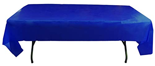 Exquisite 12-Pack Premium Plastic 54in. x 108in. Rectangle Table Cover - Navy Blue]()