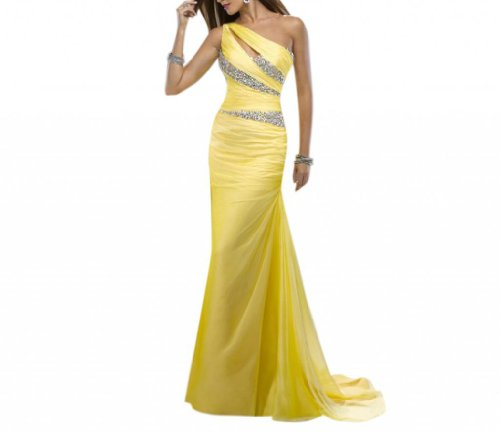 Shoulder One Sweep - Dearta Women's Sheath One-Shoulder Sweep Train Evening Dress US 14 Yellow