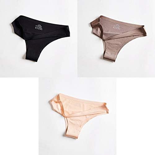 Zhichuang パンティー女性の下着セクシーなシームレスなスポーツ女性のTバックソリッドソフトGストリングひものために女性の下着アイスシルク3個BANNIROU (色 : Black coffee nude, サイズ...