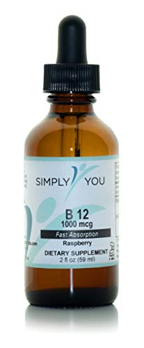 Vitamin B12 by Simply You   Raspberry-Flavored Liquid Supplement for Nervous and Immune System Support   Organic, Vegan, Gluten Free   1000 mcg Fast Absorption