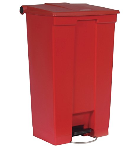 Rubbermaid Commercial Slim Jim Front Step On Trash Can, Red, 23 Gallon ()