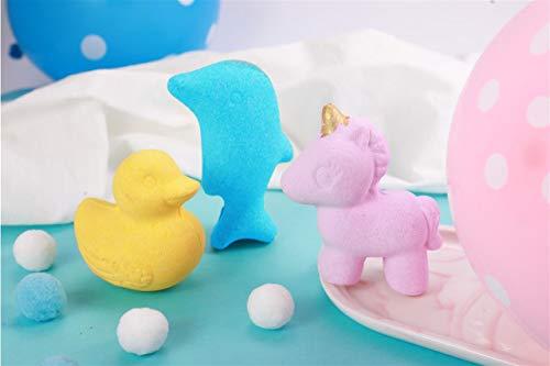 6x4.2ounce Kids Cute Unicorns Ducks Dolphins Shaped Bubble Bath Bombs Unique Animal...