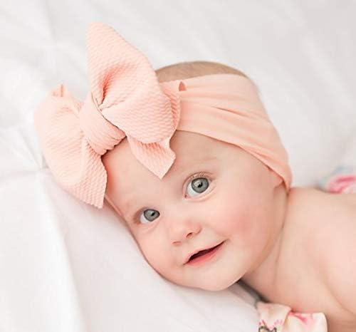 Neon Pink Textured Stretchy Baby Headband  Infant Headband  Baby Bow  Infant Bow  Large Bow