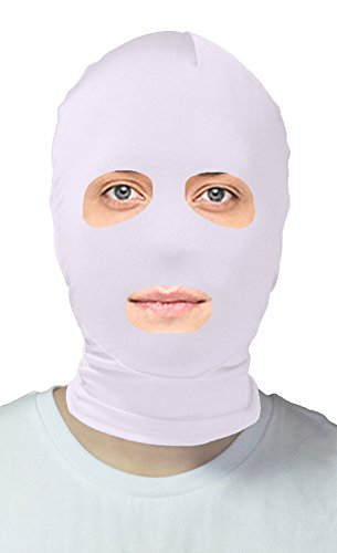 VSVO Adults White Lycra Open Eyes and Mouth Zentai Hood Mask (Adults, (Zip Up Halloween Mask)