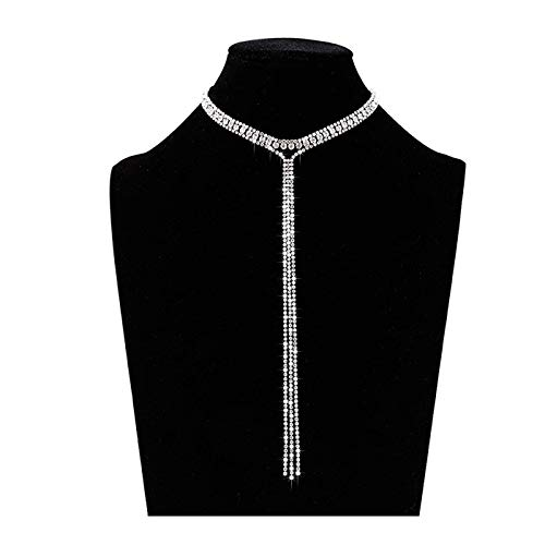 LIAO Jewelry 3 Row Rhinestone Tassel Choker Necklace Crystal Collar Necklace Gothic Wide Diamond Charms for Girls (Silver)