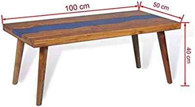 """Coffee Table Teak Resin Home Secure Decor Sturdy Tabletop (Sanded and Varnished) with Resin Inlay 39.4""""x19.7""""x15.7"""" SKB Family"""