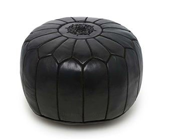 Moroccan Leather Pouf Footstool with Embroidery [STUFFED] Berber Black [SHIPS FROM WITHIN USA]