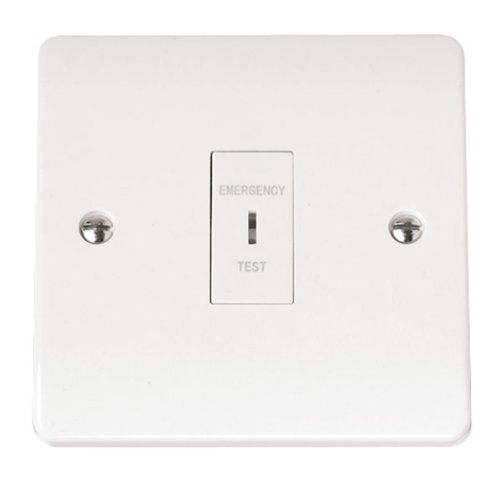 White Emergency Lighting Double Pole Test Key Switch Inc