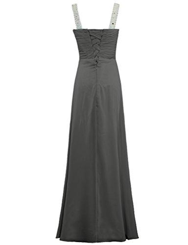 Prom Gray Evening Scoop Gown ANTS Dress Long Chiffon Bead Women's Neck RqaafvX