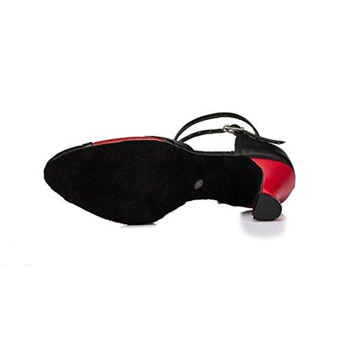 Meijili - plataforma mujer negro/ rojo
