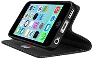 Viesrod CellTo Faux Leather Diary Folio Case for iPhone 5C - Retail Packaging - Black