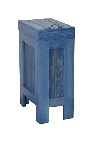 Wood Wooden Trash Bin Kitchen Garbage Can 13 Gallon Recycle Bin Dog Food Storage Blue Stain with Clear Coat- Pine Rustic - Metal Handle Handmade in USA